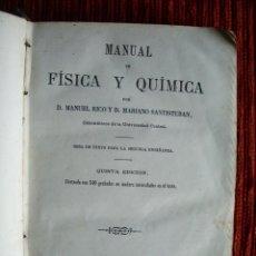 Libros antiguos: 1865-MANUAL DE FISICA Y QUIMICA CON 540 GRABADOS EN MADERA.MANUEL RICO.ORIGINAL. Lote 44636040
