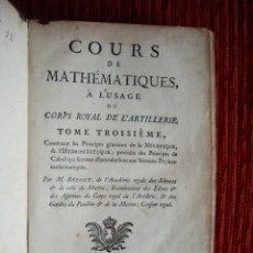 Libros antiguos: 1772-MATEMATICAS EJERCITO ARTILLERIA.6 PLANCHAS GRABADOS.CALCULO DIFERENCI.MECANICA.FLUIDOS.ORIGINAL. Lote 44654495