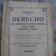 Libros antiguos: RUDIMENTOS DE DERECHO PARA LAS ESCUELAS DE PRIMERA ENSEÑANZA. FEDERICO ESCOBAR Y CARLOS VALENTIN. Lote 47806073