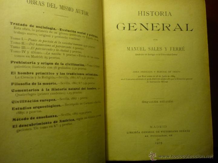 LIBRO HISTORIA GENERAL .-MANUEL SALES FERRE. 1905 2ª EDIC. (Libros Antiguos, Raros y Curiosos - Libros de Texto y Escuela)