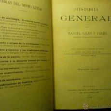 Libros antiguos: LIBRO HISTORIA GENERAL .-MANUEL SALES FERRE. 1905 2ª EDIC.. Lote 48390171