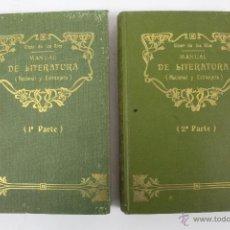 Libros antiguos: L- 805. MANUAL DE LITERATURA (NACIONAL Y EXTRANJERA). 2 LIBROS. H. GINER DE LOS RIOS. MADRID 1909.. Lote 48772759