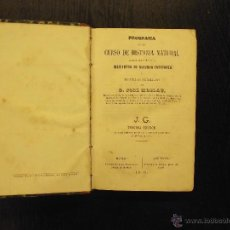 Libros antiguos: PROGRAMA DE UN CURSO DE HISTORIA NATURAL, JOSE MONLAU, 1870. Lote 50157684