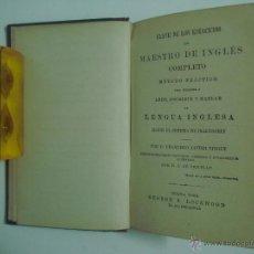Livros antigos: FRANCISCO JAVIER VINGUT. CLAVE DE LOS EJERCICIOS DEL MAESTRO DE INGLÉS. 1869. Lote 50240316