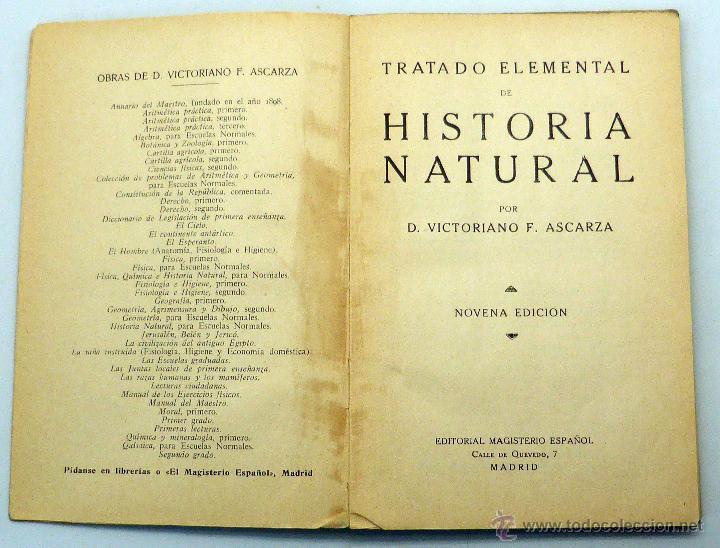 Libros antiguos: Tratado Elemental Historia Natural Victoriano Ascarza 1ª ed Magisterio Español 1935 - Foto 2 - 50305560