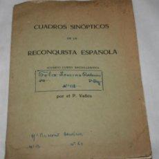 Libros antiguos: CUADROS SINOPTICOS DE LA RECONQUISTA ESPAÑOLA, P. VALLES, VALENCIA HACIA 1960. Lote 50523512