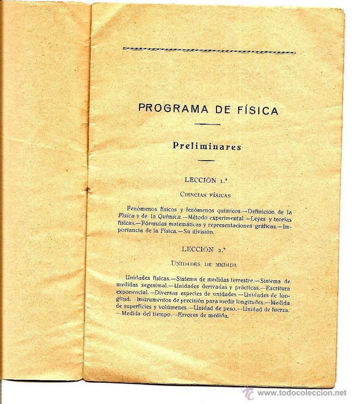 Libros antiguos: PROGRAMA DE FÍSICA POR D. JUAN MIR PEÑA CATEDRÁTICO INSTITUTO GRANADA AÑO 1930 - CUÑO ALCOY - Foto 2 - 51047638