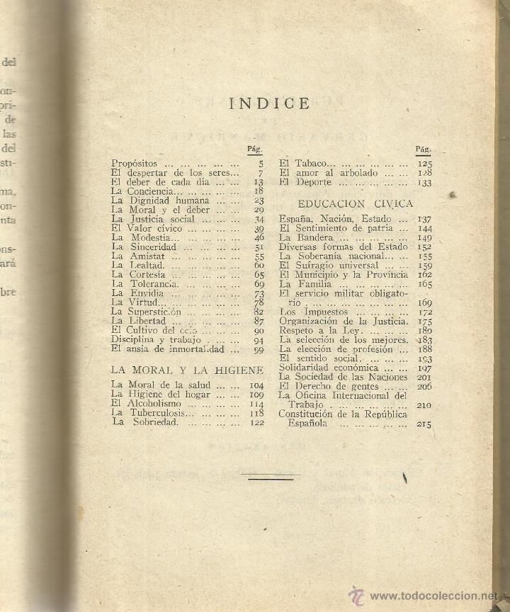 Libros antiguos: EDUCACIÓN MORAL Y CÍVICA. GERVASIO MANRIQUE. EDITORIAL RUIZ ROMERO. BARCELONA. 1933 - Foto 3 - 52837109