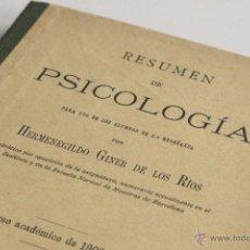 Libros antiguos: RESUMEN DE PSICOLOGÍA - HERMENEGILDO GINER DE LOS RÍOS 1902. Lote 53909286