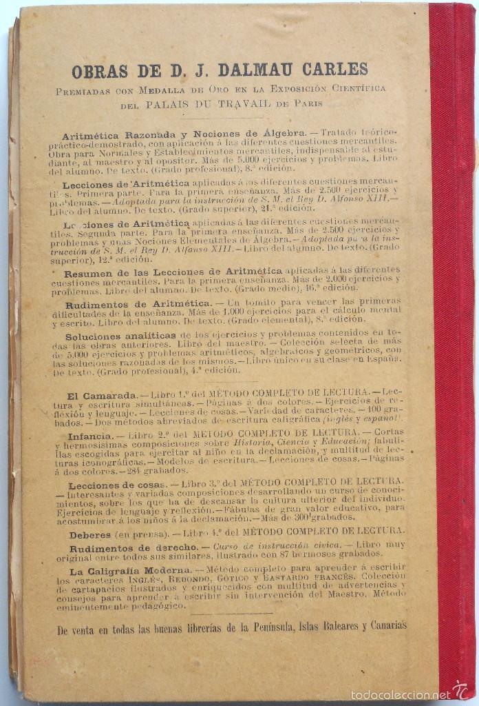 Libros antiguos: ARITMÉTICA RAZONADA Y NOCIONES DE ÁLGEBRA - LIBRO ALUMNO GRADO PROFESIONAL - JOSÉ DALMAU - AÑO 1905 - Foto 6 - 56658478