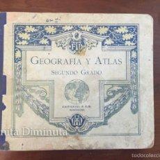 Libros antiguos: ANTIGUO LIBRO ESCUELA GEOGRAFIA Y ATLAS SEGUNDO GRADO EDITORIAL FTD BARCELONA - . Lote 57139825