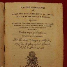 Libros antiguos: MANUAL GEOGRÁFICO. BARCELONA 1828.. Lote 57276227