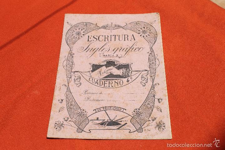 CUADERNO ESCRITURA INGLES GRAFICO, MARCA X, MODERNISTA PORTADA A. SOLER (Libros Antiguos, Raros y Curiosos - Libros de Texto y Escuela)