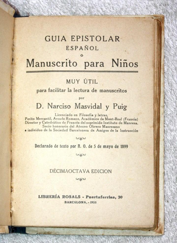 Libros antiguos: MANUSCRITO GUIA EPISTOLAR 1925. NARCISO MASVIDAL Y PUIG - Foto 2 - 57832489