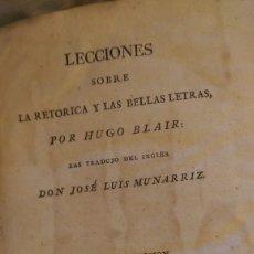 Libros antiguos: LECCIONES SOBRE LA RETÓRICA Y LAS BELLAS LETRAS 1816. Lote 58533729