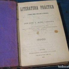 Libros antiguos: LITERATURA PRÁCTICA. TEMAS PARA ANÁLISIS LITERARIO. D. JOSE V. RUBIO CARDONA 1900. Lote 62034676