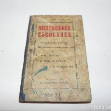 Libros antiguos: **RECITACIONES ESCOLARES. POR D. EZEQUIEL SOLANA. EDITADO POR EL MAGISTERIO ESPAÑOL, 1908**. Lote 110602683