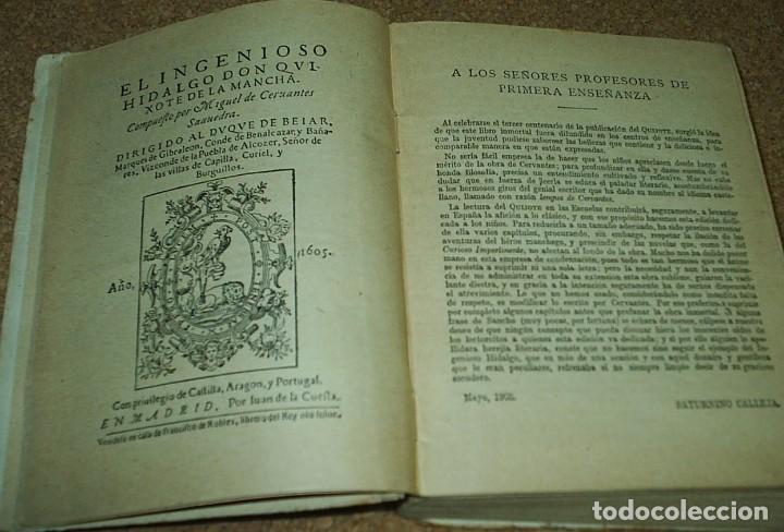 Libros antiguos: DON QUIJOTE DE LA MANCHA- EDICION CALLEJA PARA LAS ESCUELAS, 1905, MUY DIFICIL-606 PG - Foto 2 - 66979366