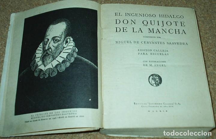 Libros antiguos: DON QUIJOTE DE LA MANCHA- EDICION CALLEJA PARA LAS ESCUELAS, 1905, MUY DIFICIL-606 PG - Foto 3 - 66979366