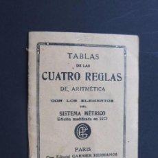 Libros antiguos: TABLAS DE LAS CUATRO REGLAS DE ARITMETICA / EDICION GARNIER AÑO 1925 / EN ESPAÑOL. Lote 95748111