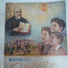 Libros antiguos: COLEGIO SAN JOSE --PP. ESCOLAPIOS SANTANDER - MEMORIA 1943/44. Lote 97878091