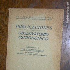Libros antiguos: (F.1) PUBLICACIONES OBSERVATORIO ASTRONÓMICO CUADERNO Nº 2 AÑO 1928. Lote 105898563