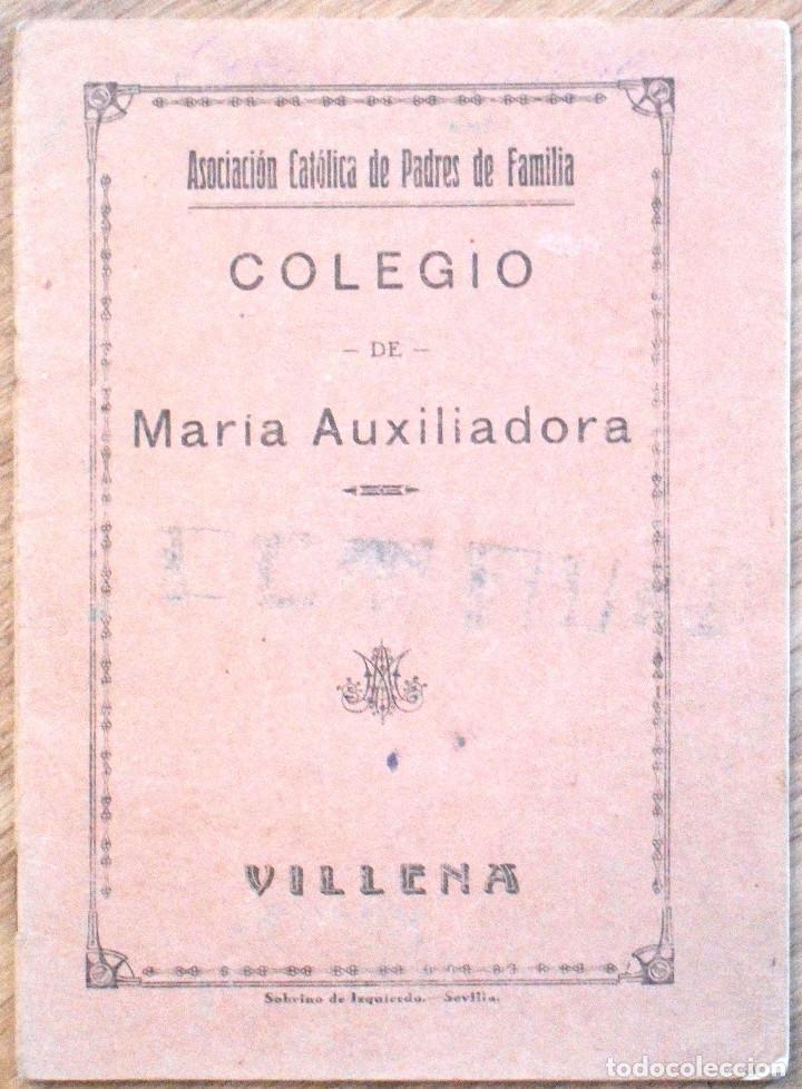 VILLENA (ALICANTE) - CUADERNILLO MANUSCRITO COLEGIO DE MARÍA AUXILIADORA - AÑO 1934 (Libros Antiguos, Raros y Curiosos - Libros de Texto y Escuela)