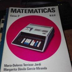 Libros antiguos: MATEMATICAS CURSO 2 BUP 1976. Lote 110922163