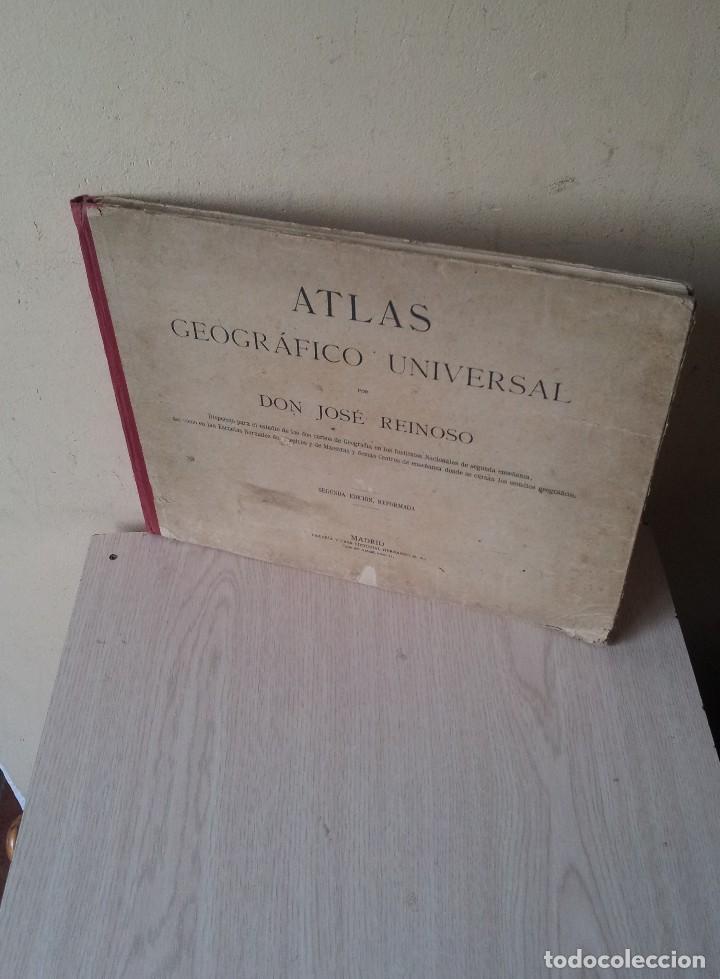 DON JOSE REINOSO - ATLAS GEOGRAFICO UNIVERSAL - SEGUNDA EDICION, REFORMADA (Libros Antiguos, Raros y Curiosos - Libros de Texto y Escuela)