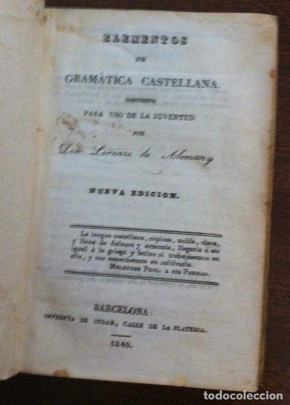 Libros antiguos: Elementos de gramática castellana - Lorenzo Alemany - Barcelona, imprenta Indar, 1840 (Pergamino) - Foto 2 - 119736051