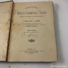 Libros antiguos: ANTIGUO LIBRO, TRATADO DE ANALISI GRAMATICAL Y LOGICO, D. SIMON AGUILAR CLARAMUNT, 1886.. Lote 121261527