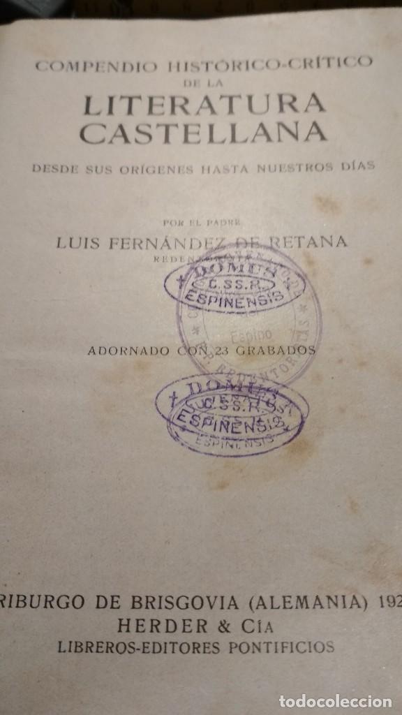 Libros antiguos: COMPENDIO HISTORICO CRITICO DE LA LITERATURA CASTELLANA. HERDER Y CIA LIBREROS FRIBURGO, AÑOS 20 - Foto 2 - 122318083