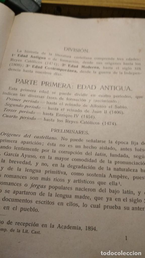 Libros antiguos: COMPENDIO HISTORICO CRITICO DE LA LITERATURA CASTELLANA. HERDER Y CIA LIBREROS FRIBURGO, AÑOS 20 - Foto 3 - 122318083