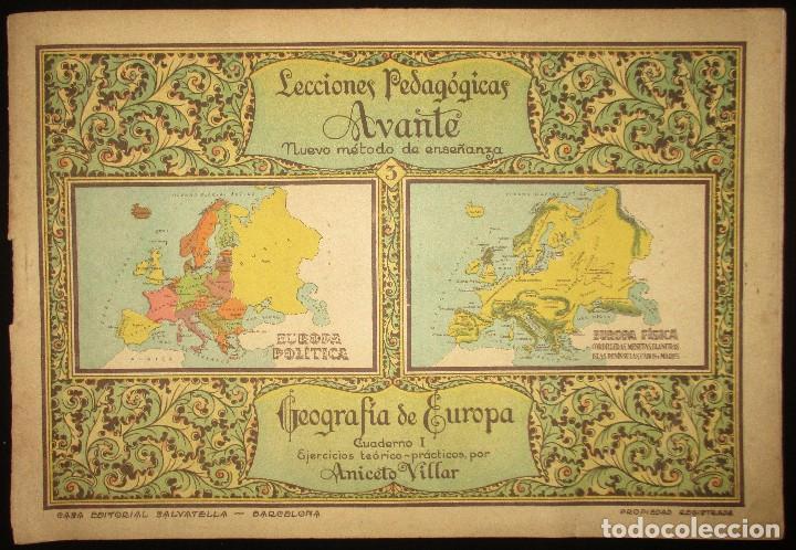 LECCIONES PEDAGÓGICAS AVANTE. GEOGRAFÍA DE EUROPA. ANICETO VILLAR. EDITORIAL SALVATELLA. (Libros Antiguos, Raros y Curiosos - Libros de Texto y Escuela)