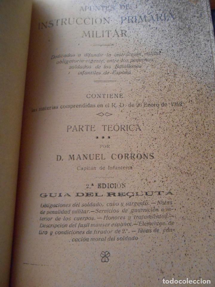 Libros antiguos: APUNTES DE INSTRUCCIÓN PRIMARIA MILITAR. - Foto 15 - 125328339