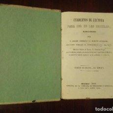 Libros antiguos: CUADERNOS DE LECTURA PARA USO EN LAS ESCUELAS, AVENDAÑO Y CARDERERA. LIBRO ESCOLAR XIX VERSOS POESÍA. Lote 125350831