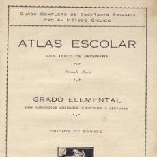 Libros antiguos: ATLAS ESCOLAR GRADO ELEMENTAL. FERNANDO PORCEL. PALMA DE MALLORCA. 1926. Lote 126081167