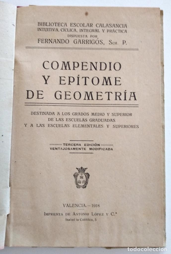 Libros antiguos: COMPENDIO Y EPÍTOME DE GEOMETRÍA - FERNANDO GARRIGÓS - BIBLIOTECA ESCOLAR CALASANCIA - VALENCIA 1918 - Foto 4 - 128247563