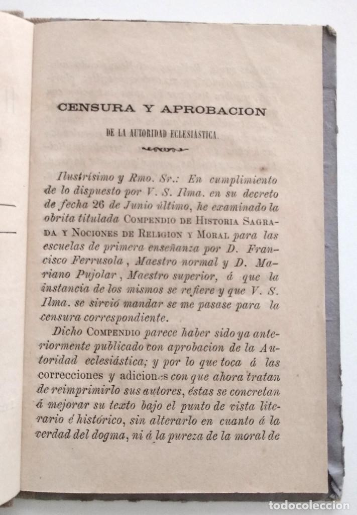 Libros antiguos: COMPENDIO DE HISTORIA SAGRADA PARA 1ª ENSEÑANZA - FRANCISCO FERRUSOLA - OLOT AÑO 1880 - Foto 5 - 130772144