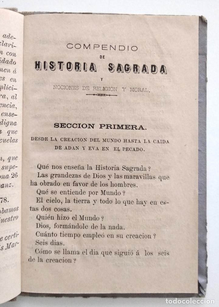Libros antiguos: COMPENDIO DE HISTORIA SAGRADA PARA 1ª ENSEÑANZA - FRANCISCO FERRUSOLA - OLOT AÑO 1880 - Foto 6 - 130772144