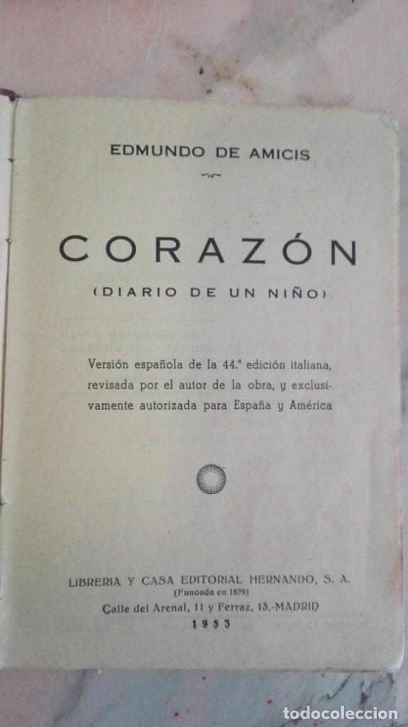 Libros antiguos: CORAZON. EDMUNDO DE AMICIS. DIARIO DE UN NIÑO. - Foto 2 - 130801940