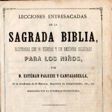 Libros antiguos: E. PALUZIE Y CANTALOCELLA : LECCIONES DE LA SAGRADA BIBLIA PARA LOS NIÑOS (1873). Lote 144986778