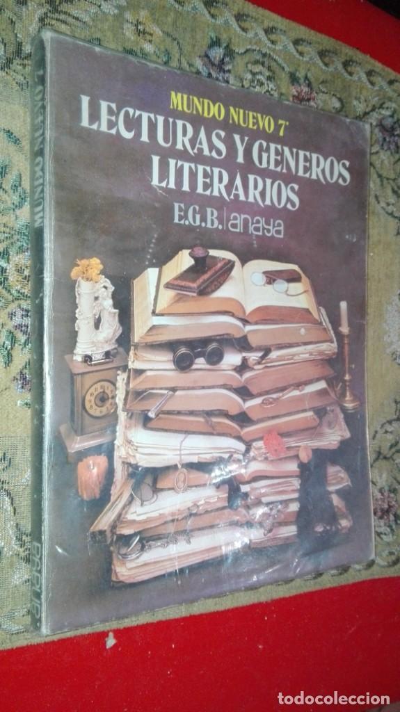 LECTURAS Y GENEROS LITERARIOS - MUNDO NUEVO 7 EGB - EDICIONES ANAYA (Libros Antiguos, Raros y Curiosos - Libros de Texto y Escuela)