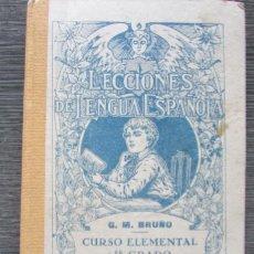 Libros antiguos: LECCIONES E LENGUA ESPAÑOLA. EDICIONES BRUÑO. CURSO ELEMENTAL. 1 GRADO . Lote 151700066