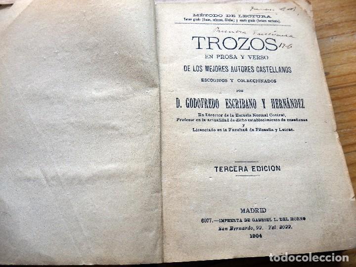 Libros antiguos: Trozos. Método de lectura en prosa y verso de 1904 - Foto 3 - 152932934