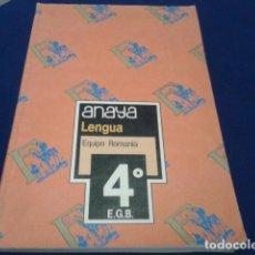 Libros antiguos: LIBRO ANAYA LENGUA 4º EGB - E.G.B. EQUIPO ROMANIA 1985. Lote 153213390