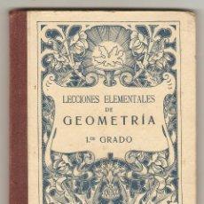 Libros antiguos: LECCIONES ELEMENTALES DE GEOMETRÍA - PRIMER GRADO O CURSO ELEMENTAL - G. M. BRUÑO. Lote 155337506