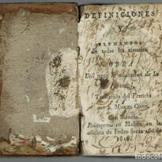 Libros antiguos: DEFINICIONES Y ELEMENTOS DE TODAS LAS CIENCIAS, TRADUCIDA POR MIGUEL COPIN. AÑO 1816. (MENORCA.1.2). Lote 156182998