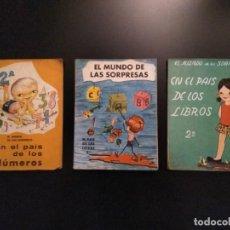 Libros antiguos: LOTE 3 LIBROS DE TEXTO-EL MUNDO DE LAS SORPRESAS 2°CURSO..EDITORIAL VEDRUNA 1969... Lote 156533454