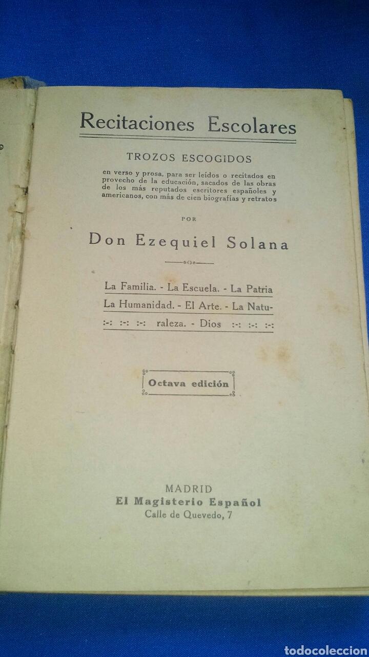 RECITACIONES ESCOLARES POR EZEQUIEL SOLANA - AÑO 1924 (Libros Antiguos, Raros y Curiosos - Libros de Texto y Escuela)